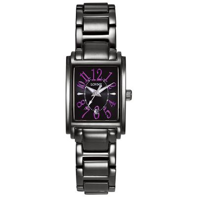 LOVME Mystery時尚腕錶-IP黑x紫刻度/23mm
