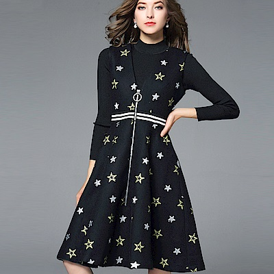 ABELLA 艾貝拉 針織長袖鐵圈拉鍊星星背心裙套裝(S-XL)