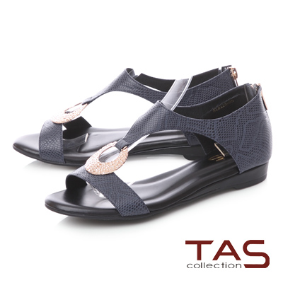 TAS蛇紋金屬圓飾後包涼鞋-深海藍