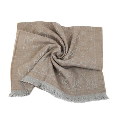 GUCCI LOGO 羊毛寬版圍巾(淺褐色)