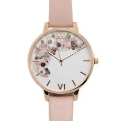 Olivia Burton 迷幻花園花季粉膚色真皮錶帶玫瑰金錶框手錶-38mm