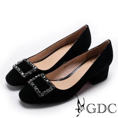 GDC-時尚百搭羊絨方鑽飾扣粗跟鞋-黑色