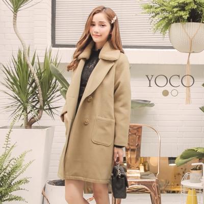 東京著衣-yoco 優雅質感可拆式毛領排釦長大衣-S.M.L(共二色)