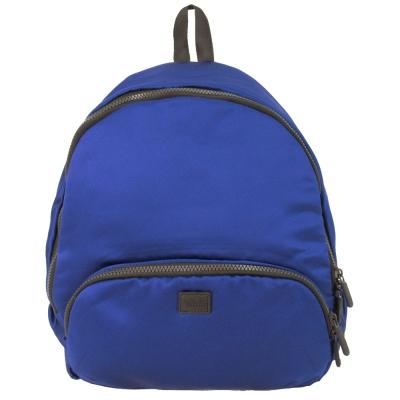 agnes b. 皮標太空棉後背包-藍