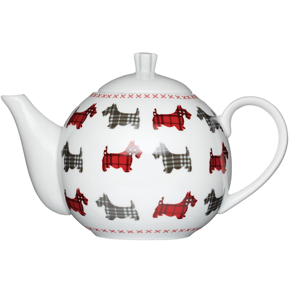 KitchenCraft 圓肚過濾茶壺(格紋梗犬)