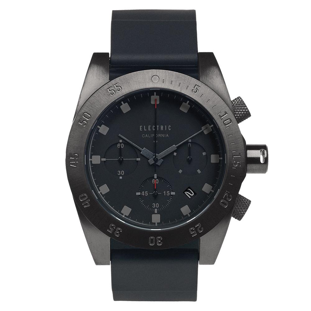 ELECTRIC DW01系列-經典潛水三眼計時腕錶-鐵灰x黑矽膠帶/44.5mm @ Y!購物