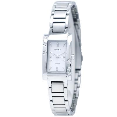 SIGMA 閃耀晶鑽簡約時尚手錶-銀/18mm