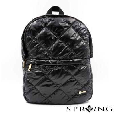 SPRING-菱格尼龍空氣後背包-黑