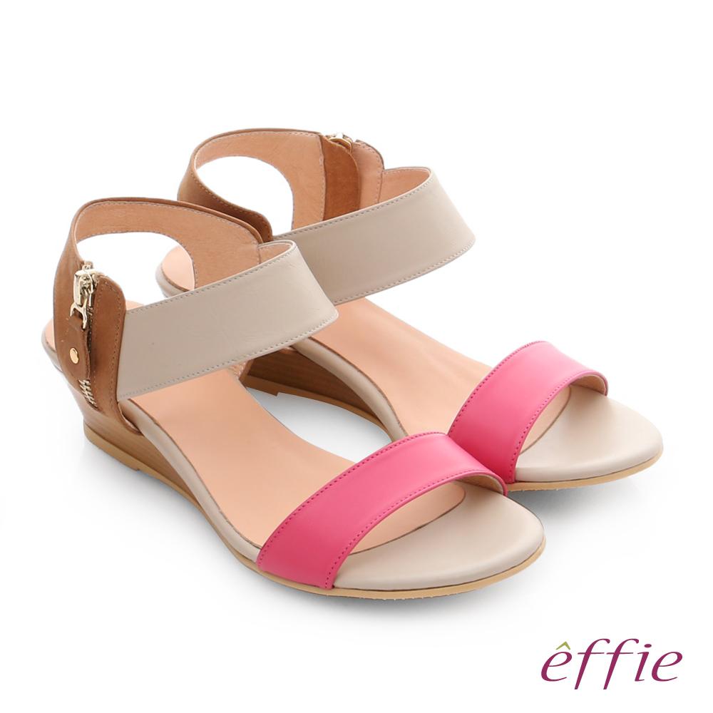 effie 嬉皮假期 真皮小坡跟簡約配色涼拖鞋 桃粉紅色