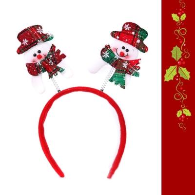 摩達客 格紋帽子雪人彈簧髮箍
