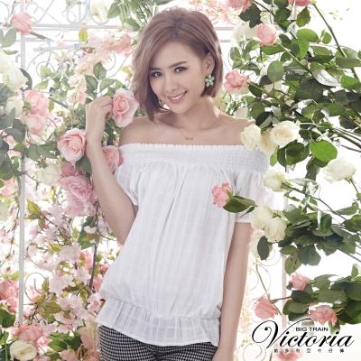 Victoria 格紋平肩拉克蘭短袖T-女-白