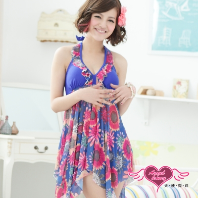 天使霓裳 盛夏太陽 兩件式加大尺碼泳衣(藍彩L~4L)
