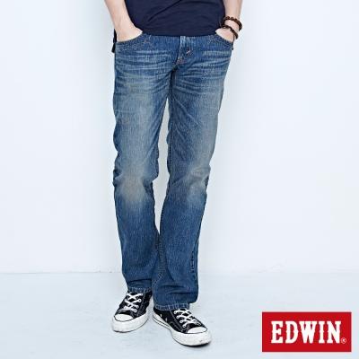 EDWIN生活態度 XV袋蓋中直筒牛仔褲-男-石洗藍