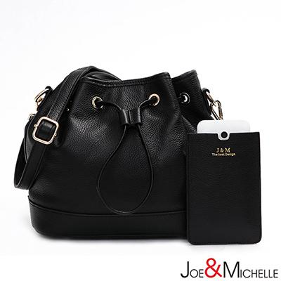 J&M 真皮亞娜多用束口水桶包 時尚黑