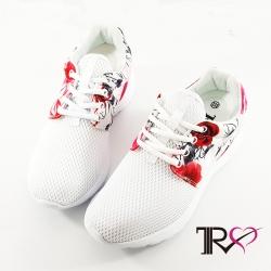 【T2R】韓國T2R空氣增高鞋內增高7公分休閒女鞋-碎花白