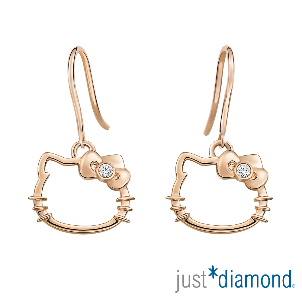 Just Diamond 18K玫瑰金鑽石耳環-愛戀貓語
