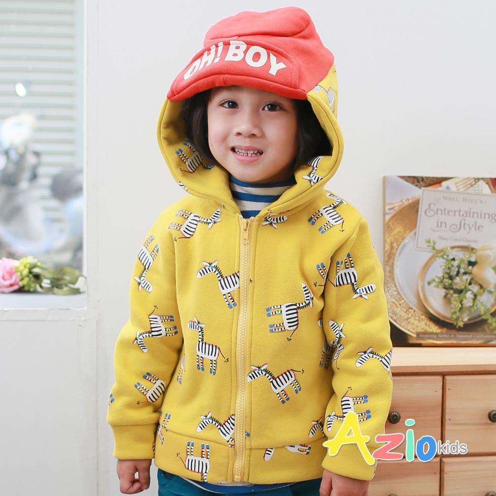 Azio Kids-滿版斑馬造型連帽厚棉外套(黃)