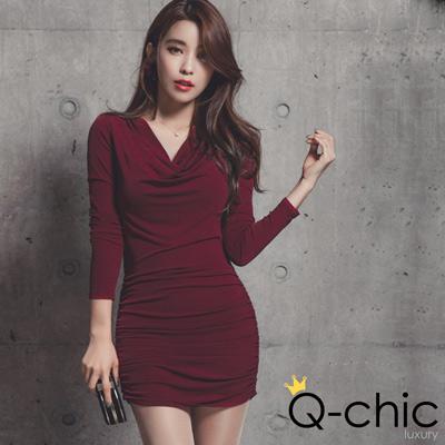 韓系垂墜寬領抓皺磨毛裡洋裝 (共三色)-Q-chic