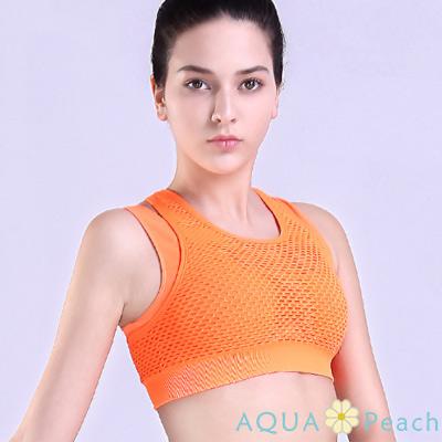 運動內衣 網孔透氣假兩件式挖背內衣 (橘色)-AQUA Peach