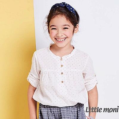 Little moni 自然女孩圓點襯衫 (白色)