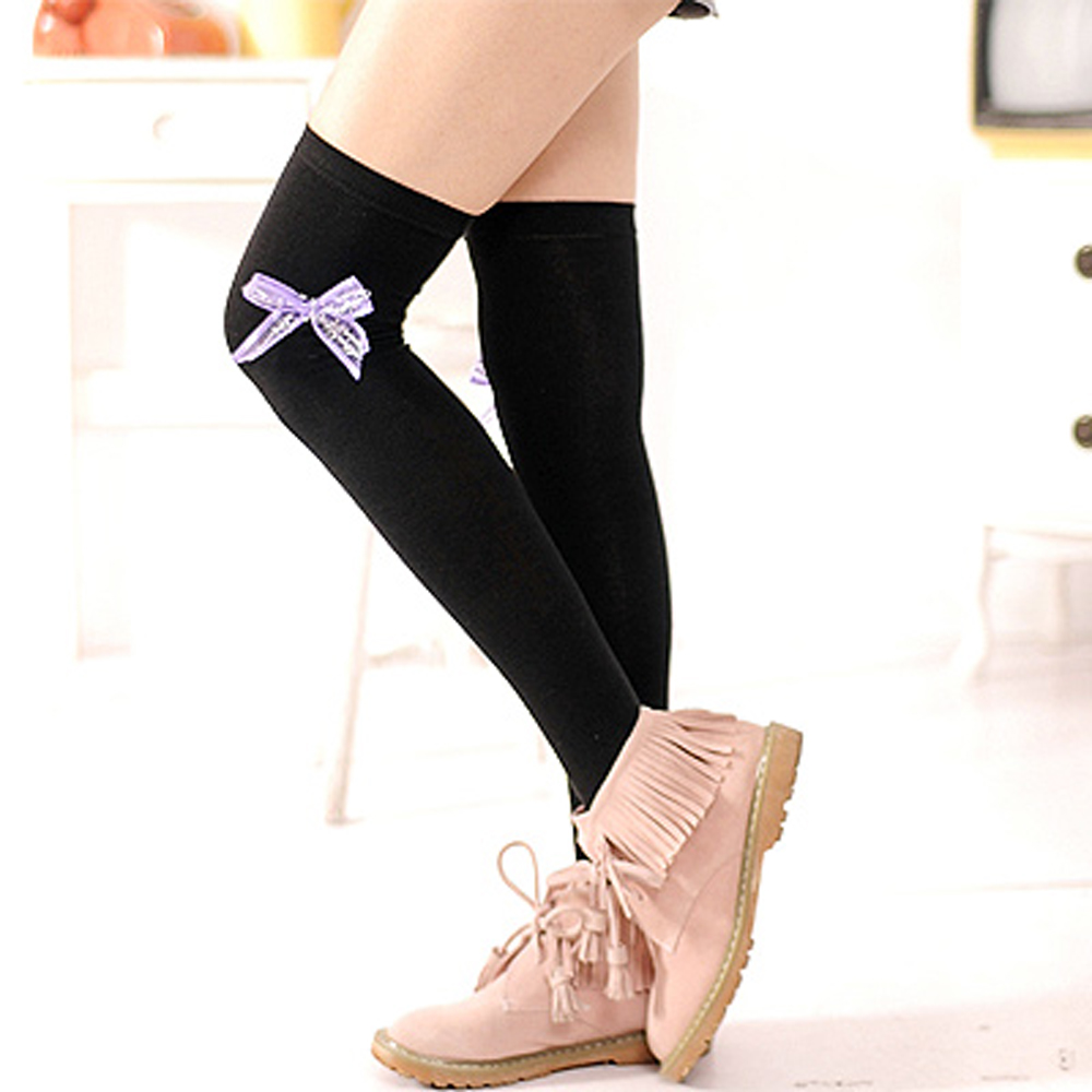 Aimee Toff 緞帶蝴蝶結墬亮造型膝上襪(紫)