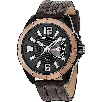 POLICE 自信風範時尚皮革手錶-黑X玫瑰金/46mm