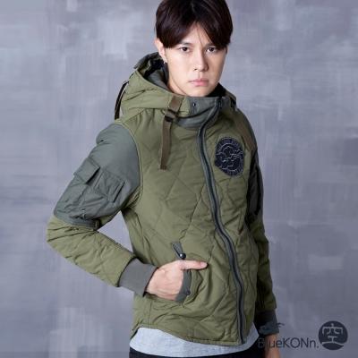 空 BLUE WAY 防潑水菱格紋軍裝舖棉外套