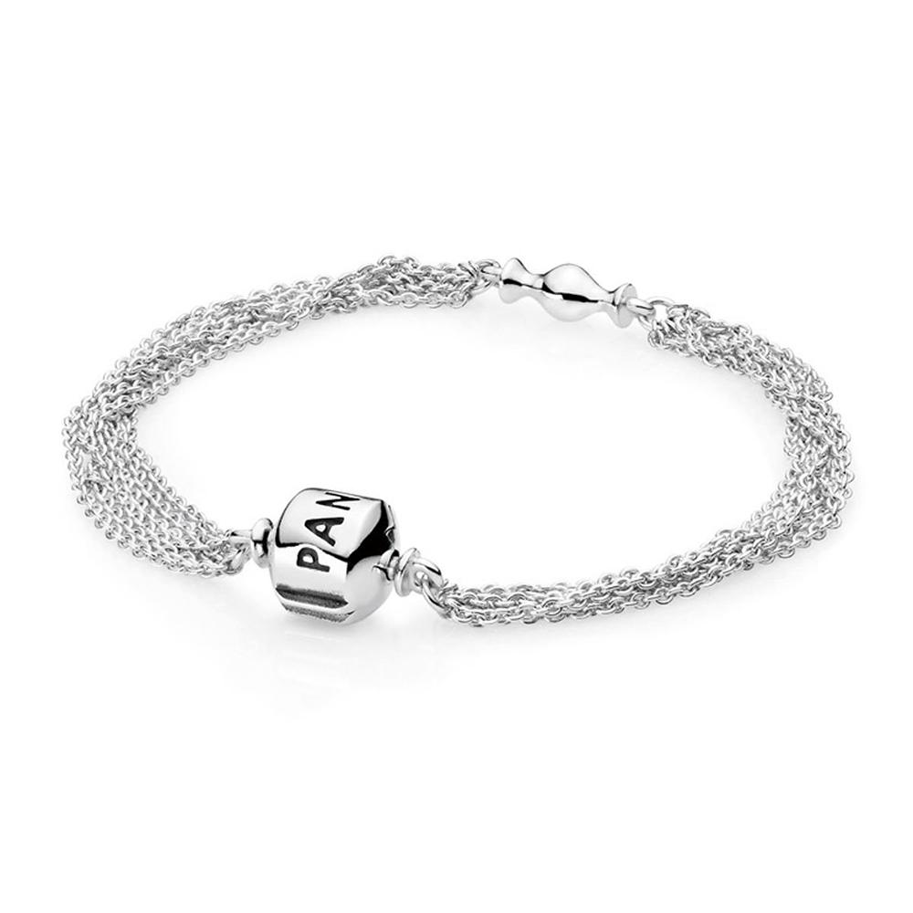 Pandora 潘朵拉 銀色多鍊造型純銀手鍊