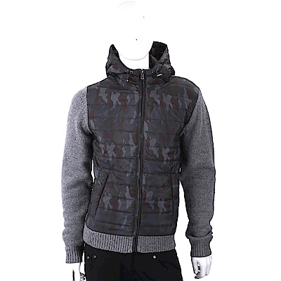 TRUSSARDI 羊毛針織細節拼接迷彩絎縫連帽夾克