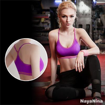 運動內衣 輕運動Y字美背運動內衣S-XL(紫)Naya Nina