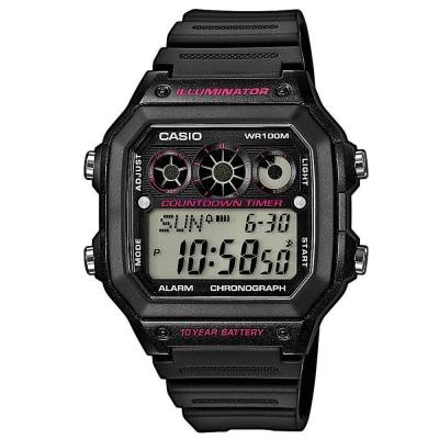 CASIO 10年電力亮眼設計方形數位錶(AE-1300WH-1A2)-黑框x桃紅錶圈/40mm