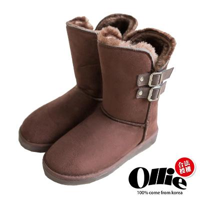 Ollie韓國空運-正韓製側V反褶多way中筒增高雪靴-咖
