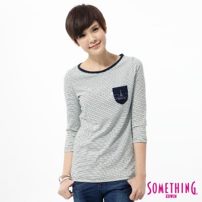 SOMETHING-優雅條紋七分袖T恤-女-拔洗藍