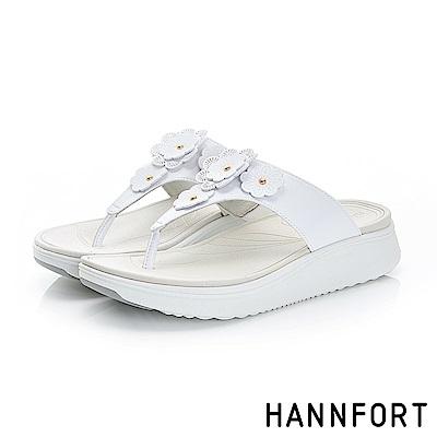 HANNFORT Ultra Comf 4D輕盈夏花厚底拖鞋-女-清新白