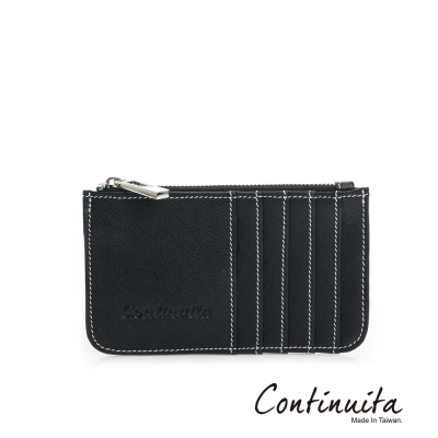 Continuita-康緹尼-MIT-頭層牛皮拉鍊卡片夾-黑