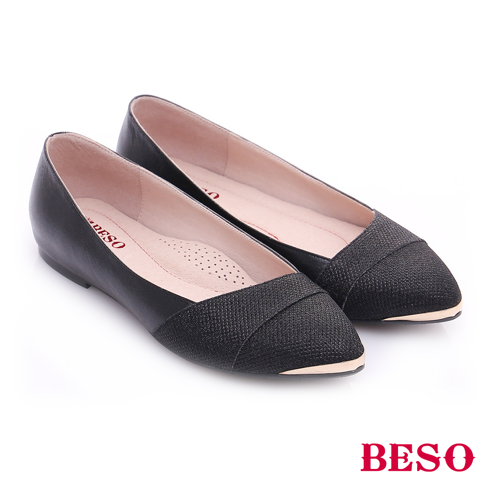 BESO 時尚核心 真皮斜口金蔥布料平底鞋 黑