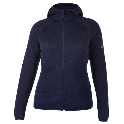 【Berghaus 貝豪斯】女款AT OPTIC保暖刷毛連帽外套H22FR2夜藍