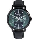 MINI Swiss Watches 原創設計 英倫風休閒錶-黑x綠/42mm