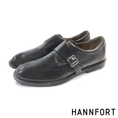 HANNFORT PERPETUAL真皮單扣孟克鞋-男-經典黑