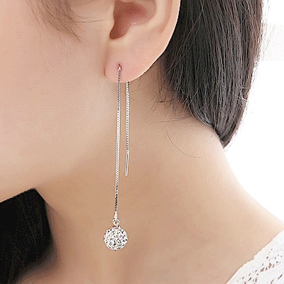 梨花HaNA 韓國925銀水鑽球球修飾臉型簡約長耳線耳環
