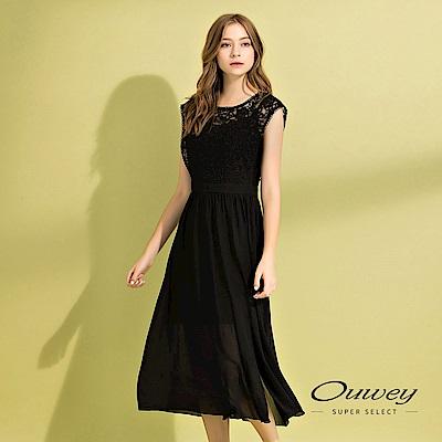 OUWEY歐薇 蕾絲拼接雪紡背心洋裝(黑)