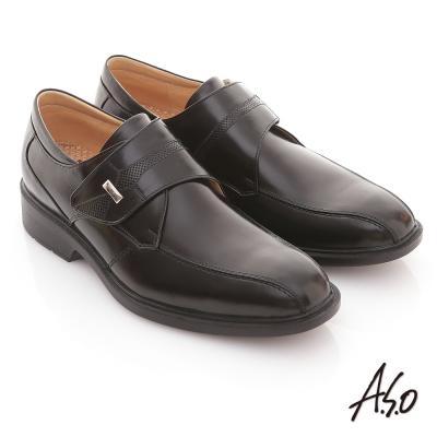 A.S.O 3D奈米系列 全真皮自黏帶氣墊鞋 黑