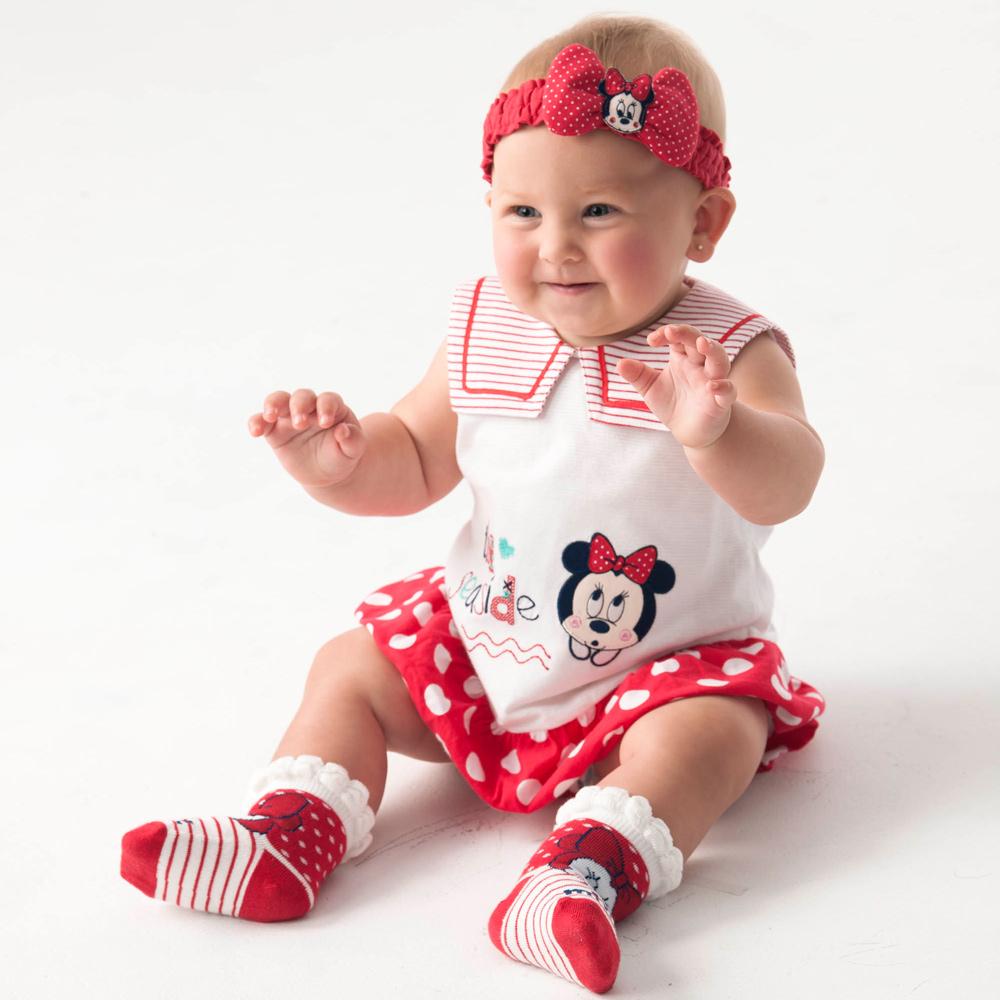 Disney baby米妮系列夏日小水手拚接連身裝 (2色可選)