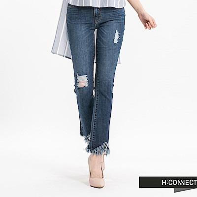 H:CONNECT 韓國品牌 女裝 - 磨破毛邊流蘇牛仔褲-深藍
