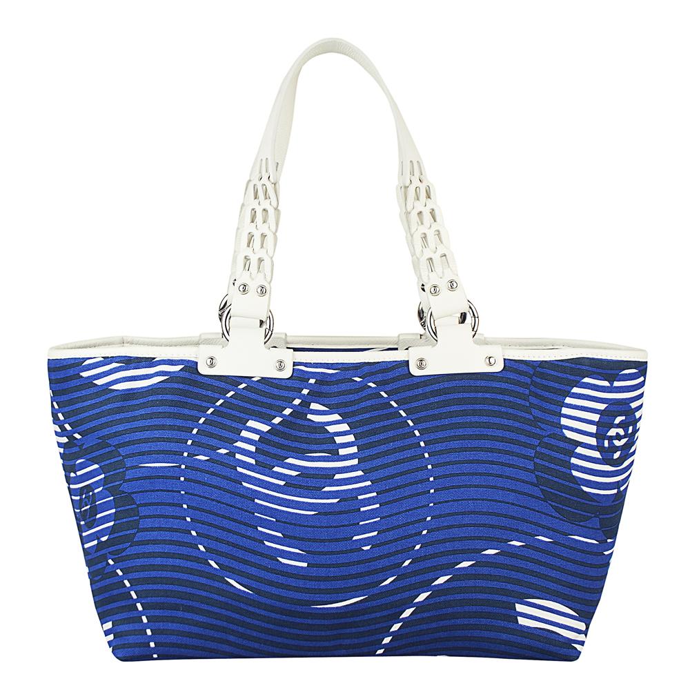 CHANEL  經典山茶花大型LOGO帆布托特肩背包(藍白) @ Y!購物