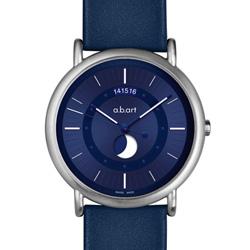 a.b.art KLD Moon Phase月相盈虧夜光顯示紀念腕錶-藍/38mm