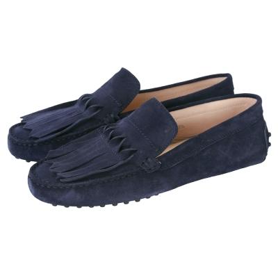 TOD'S Gommino 流蘇麂皮豆豆休閒鞋(女鞋/深藍色)