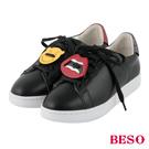 BESO街頭頑心 壓克力徽章親子小白鞋~黑