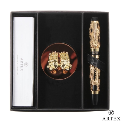ARTEX 封印龍鋼筆 雙手造型筆座/金 禮盒