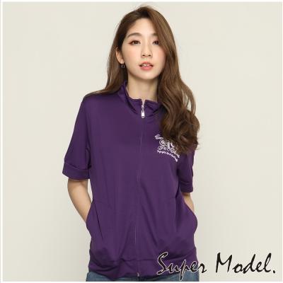短袖印花運動外套-紫色(F可選)    名模衣櫃
